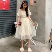 2019夏季韓版蕾絲拼接網紗中長款連身裙女小清新仙女很仙甜美裙子