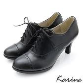 karine(MIT台灣製)全真皮復舊牛津高跟踝靴-時尚黑