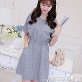 長袖洋裝2017春夏新款韓版顯瘦女裝修身大碼時尚百搭灰格打底連身裙 芭蕾朵朵