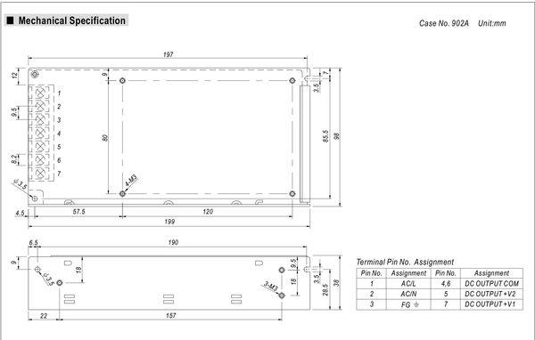 明緯MW 5V/15A 12V/10A 125W RD-125A 機殼型(Enclosed Type)交換式電源供應器