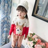 女童毛衣洋氣童裝兒童1-3-4歲2上衣寶寶圓領套頭針織毛線衣 歐韓時代