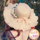 帽子 波浪邊花朵緞帶蝴蝶結編織草帽-Ruby s 露比午茶