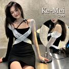 克妹Ke-Mei【AT70228】獨家,愛死了!法式蕾絲併接連身洋裝