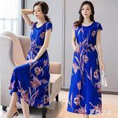 大碼洋裝 中年媽媽夏裝時尚長款棉質連身裙潮流 yu3753『夢幻家居』