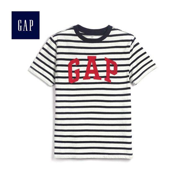 Gap男童 Logo條紋短袖T恤 466329-海軍藍條紋