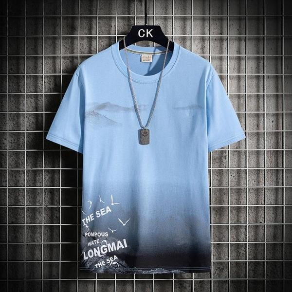 T恤男短袖純棉潮流寬鬆ins夏季原宿風撞色體恤圓領親膚國潮上衣服 黛尼時尚精品