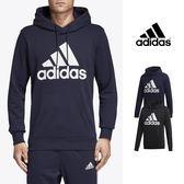 【GT】Adidas 黑藍 連帽T恤 長袖 運動 休閒 棉質 帽衫 愛迪達 基本款 Logo