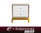 『 e+傢俱 』BB195 哈蘭 Harlan 現代風格床頭櫃 不鏽鋼鍍金設計 收納櫃 | 床邊櫃 | 雙抽屜收納