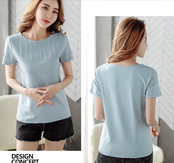 上衣 T恤 短袖M-3XL 純棉寬鬆圓領短袖t恤女大碼女裝H350C.9307歐韓依家