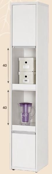 【森可家居】卡洛琳1尺雙拉盤餐櫃 8CM926-1 白色 窄細長型 收納廚房櫃 碗盤碟櫃 北歐風