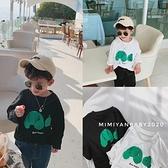 瞇瞇眼童裝兒童韓版T恤2021春季新款男童小熊長袖打底衫寬鬆上衣 幸福第一站