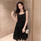 一字领洋装 2021夏季新款法式復古性感黑色吊帶小黑裙子收腰顯瘦氣質洋裝女