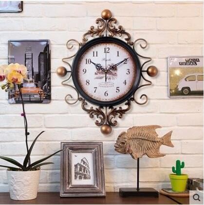 美式客廳鐘錶時鐘掛鐘客廳創意藝術新款復古