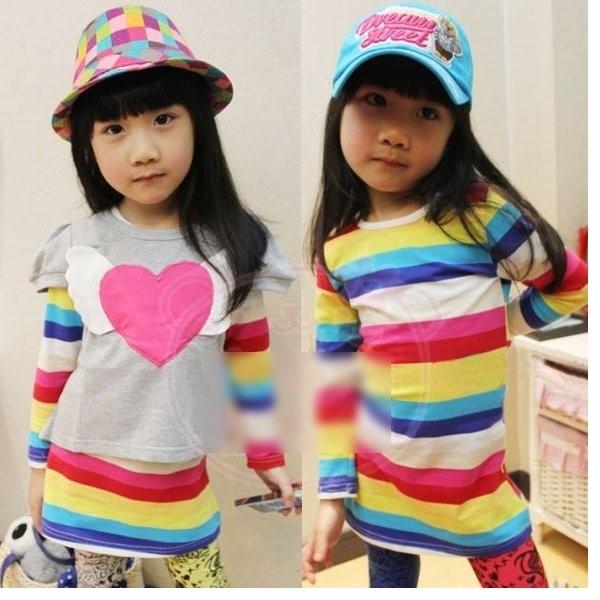 韓版《愛心彩虹款》兩件式長袖小套裝