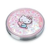 〔小禮堂〕Hello Kitty 金屬圓形流沙隨身雙面鏡《粉銀.抱愛心》放大鏡.折鏡 4901610-13783