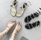 套趾水鉆蛇形纏繞涼鞋女夏學生韓版百搭時尚外穿平底