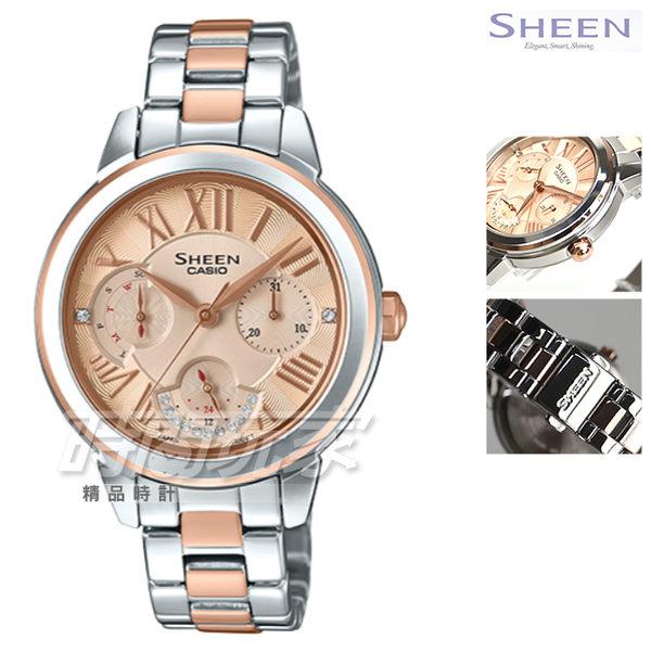SHEEN SHE-3059SPG-9A 多重指針 經典三針三眼羅馬女錶 洛世奇水晶元素 玫瑰金 SHE-3059SPG-9AUDR CASIO卡西歐