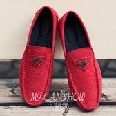 春季豆豆鞋男士韓版潮流懶人社會精神小伙潮鞋休閑套腳紅色鞋子男