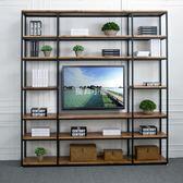 書架電視背景墻掛壁墻上隔板客廳復古鐵藝電視柜loft置物架裝飾架