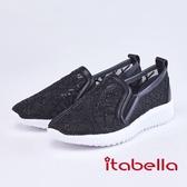 itabella.舒適牛皮拼接水鑽蕾絲休閒鞋(9218-90黑色)