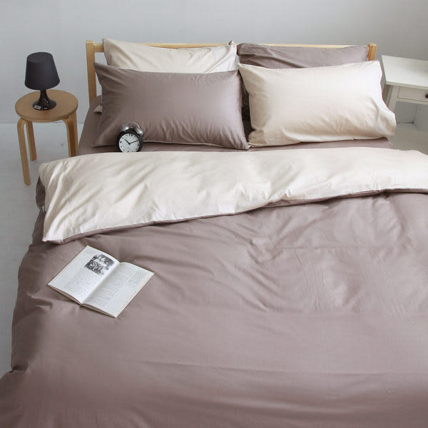 OLIVIA 【 素色無印系列 棕 淺米 】 特大雙人 6X7-床包/枕套組合 100%精梳純棉 台灣製