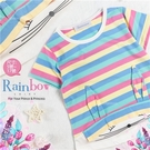 彩色條紋兔兔短袖棉質上衣(310082)【水娃娃時尚童裝】