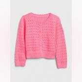 Gap女幼甜美亮色鏤空針織開衫538981-螢光粉