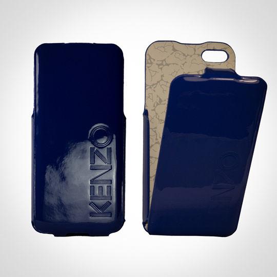 KENZO Glossy系列 iPhone5/5S 亮面皮革保護套 - Glossy Blue