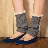 襪套 針織毛線保暖腿套短款蕾絲花邊樹葉襪套 - 10色【Ann梨花安】