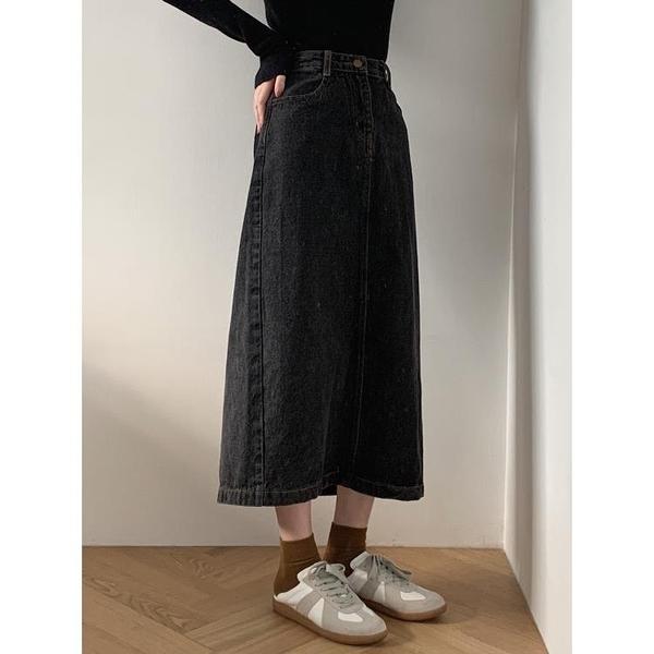 蘇安家 很好搭深藍/炭黑復古百搭2020春裝新款牛仔直筒裙半身裙女