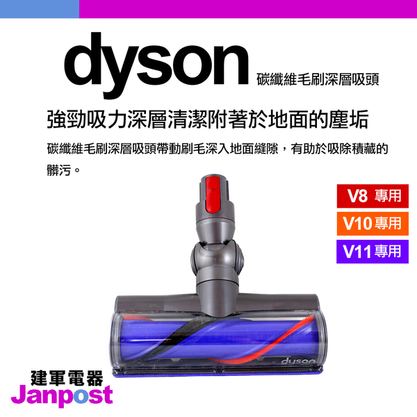 Dyson 戴森 V8 V10 V11 SV10 SV12 50W Motrhead 碳纖維毛刷吸頭 /全新原廠/建軍電器
