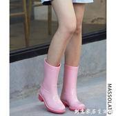 雨鞋女韓國可愛春夏時尚中筒水鞋休閒水靴防水防滑膠鞋成人雨靴 創意家居生活館