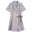 洋裝 2020年新款裙子小個子春夏季流行女裝時尚法式顯瘦格子西裝洋裝