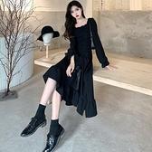 長袖洋裝連身裙M-4XL中大尺碼大碼女裝法式赫本風連衣裙設計感小眾荷葉邊裙子GB407.7137胖胖唯依