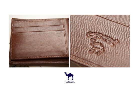 CAMEL - 西班牙經典真皮水波紋款可拆式12卡2照短夾-深咖