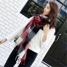 百搭紅色系幾何格子仿羊絨長流蘇保暖 圍巾 披肩