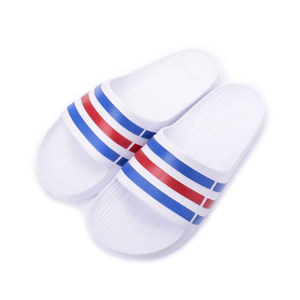 ADIDAS DURAMO SLIDE 一體成型套式拖鞋 白 U43664 男女款 鞋全家福