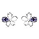 水晶耳環 925純銀(耳針式)-鑲鑽花朵...
