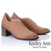 ★2018秋冬★Keeley Ann簡約百搭~波浪型鞋緣粗中跟全真皮踝靴(駱駝色) -Ann系列