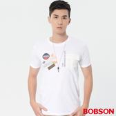 【BOBSON】男款貼帶印圖上衣 (28023-80)