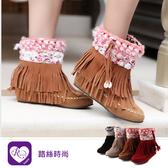 甜美浪漫流蘇絨毛麂皮尖頭短靴/4色/35-43碼 (RX1229-520) iRurus 路絲時尚