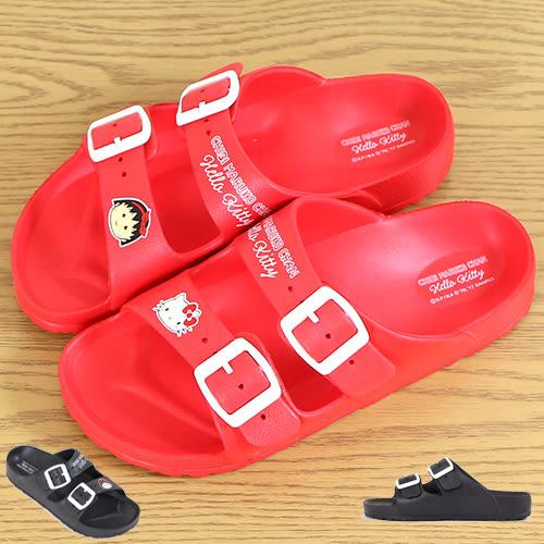 女款 Hello Kitty和櫻桃小丸子 超輕量後跟加厚防水舒適柔軟EVA雙扣 防水拖鞋 厚底拖鞋 59鞋廊