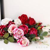 仿真絨布玫瑰花束長枝單支落地假花絹花干花藝客廳臥室裝飾 AW1635『愛尚生活館』