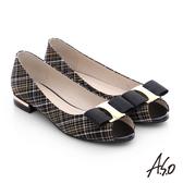 A.S.O 注目嬌點 格紋金屬織帶魚口跟鞋  黑