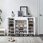 鞋櫃實木鞋柜家用門口玄關柜大容量簡約現代百葉門美式門廳儲物柜白色LX 嬡孕哺