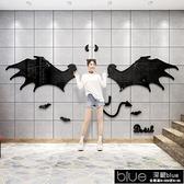 裝飾貼紙 網紅天使翅膀3d立體墻貼奶茶店墻面拍照背景墻貼商場布置貼紙自粘