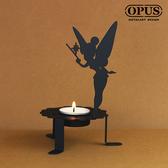 OPUS 歐式鐵藝精靈之光/香氛蠟燭燭檯(花仙子燭台_黑)