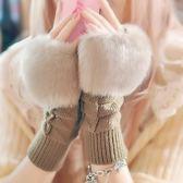 手套女秋冬季學生保暖仿兔毛半指手套