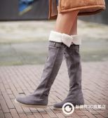 過膝長靴平底雪地靴平跟加絨磨砂長靴 Xgpj48