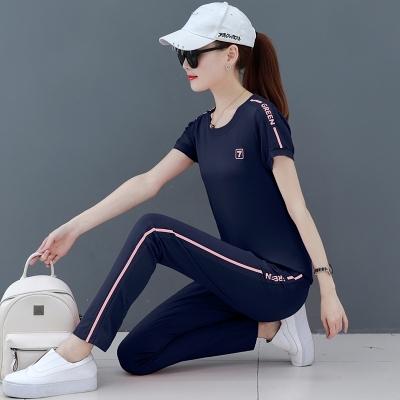夏季運動服套裝女2021新款時尚韓版小清新氣質顯瘦夏裝休閑兩件套T148.胖丫